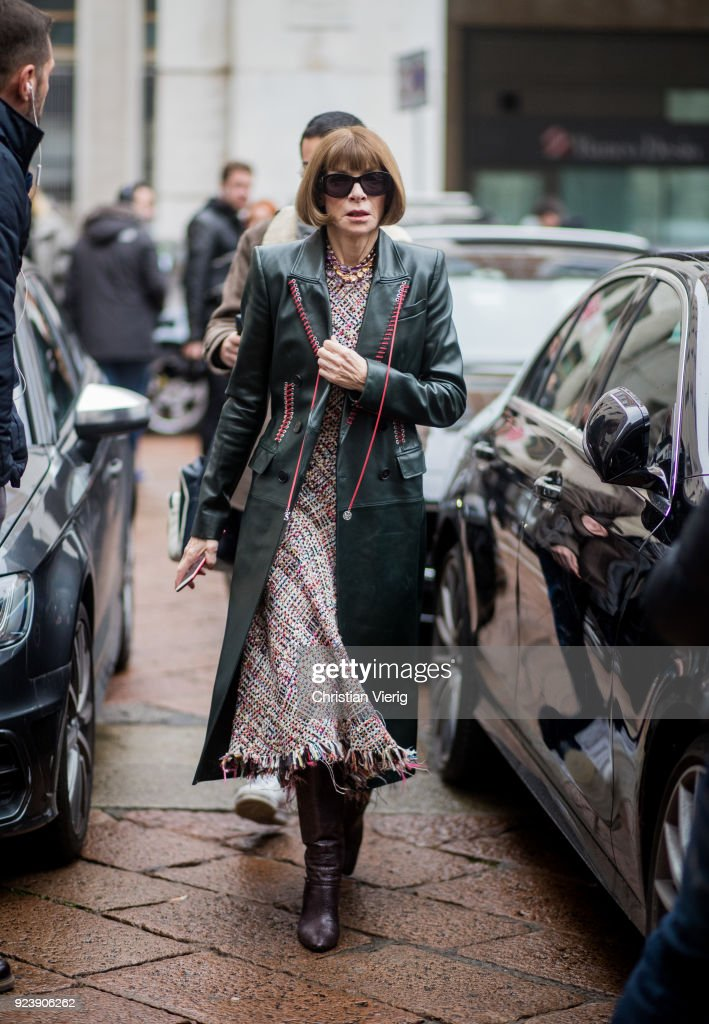 Anna Wintour seen outside Salvatore Ferragamo during Milan Fashion Week Fall/Winter 2018/19 on February 24, 2018 in Milan, Italy.