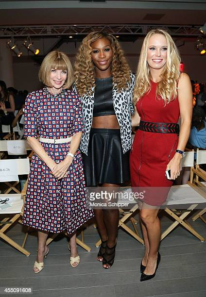 Anna Wintour Serena Williams and Caroline Wozniacki attend the Serena Williams Signature Statement by HSN fashion show during Style360 Spring 2015 at...