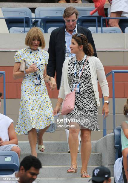 Anna Wintour Shelby Bryan and Mirka Federer attend Day 7 of the 2014 US Open at USTA Billie Jean King National Tennis Center on August 31 2014 in the...