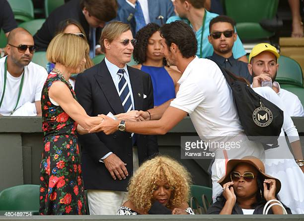 Anna Wintour Shelby Bryan and Patrick Mouratoglou attend day 12 of the Wimbledon Tennis Championships at Wimbledon on July 11 2015 in London England