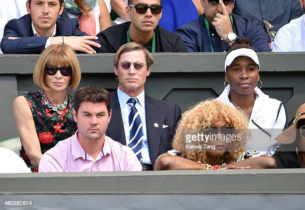 Anna Wintour Shelby Bryan and Venus Williams attend day 12 of the Wimbledon Tennis Championships at Wimbledon on July 11 2015 in London England