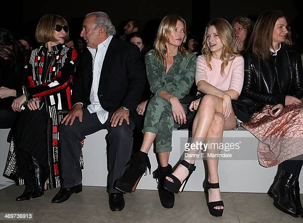 Anna Wintour Sir Philip Green Kate Moss and Lottie Moss attend the Topshop Unique show at London Fashion Week AW14 at Tate Modern on February 16 2014...
