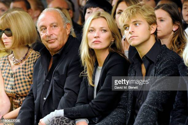 Anna Wintour Sir Phillip Green Kate Moss and Brandon Green attend the Unique SS14 runway show during London Fashion Week on September 15 2013 in...