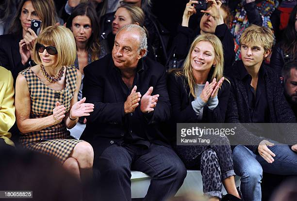 Anna Wintour Sir Phillip Green Kate Moss and Brandon Green attend the Unique show during London Fashion Week SS14 at TopShop Show Space on September...