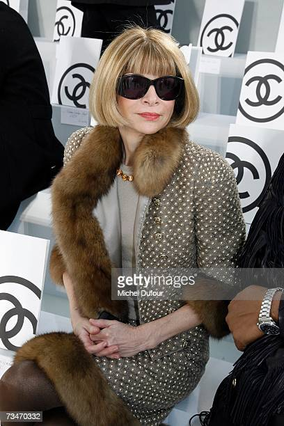 Anna Wintour sits in the front row at the Chanel fashion show F/W 2007/08 at Grand Palais on March 2 2007 in Paris France