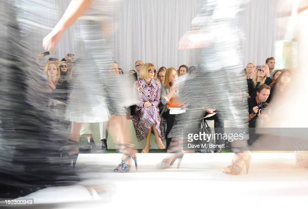 Anna Wintour sits in the front row during the Mulberry Spring/Summer 2013 Show during London Fashion Week at Claridge's on September 18 2012 in...