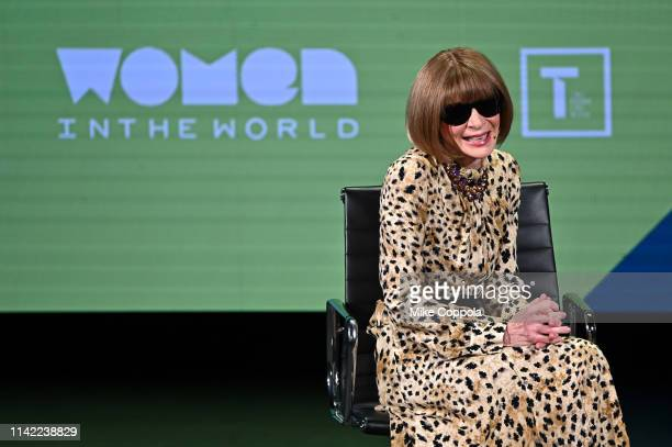 Anna Wintour speaks during the 10th Anniversary Women In The World Summit at David H Koch Theater at Lincoln Center on April 12 2019 in New York City