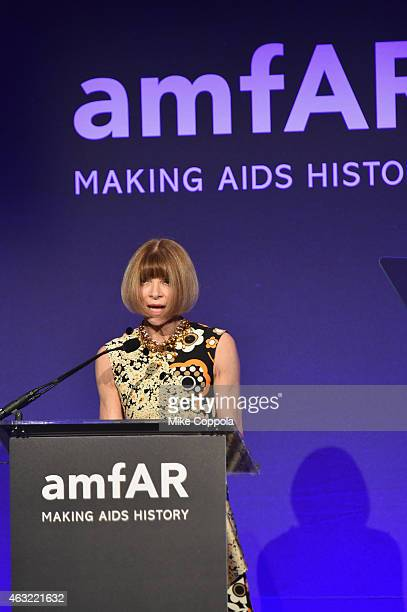 Anna Wintour speaks onstage at the 2015 amfAR New York Gala at Cipriani Wall Street on February 11, 2015 in New York City.
