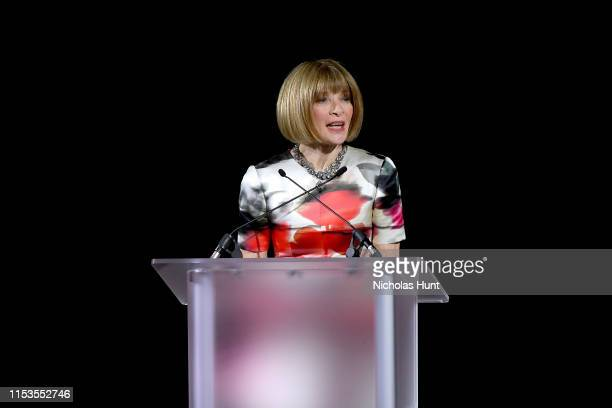 Anna Wintour speaks onstage during the CFDA Fashion Awards at the Brooklyn Museum of Art on June 03, 2019 in New York City.