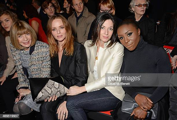 Anna Wintour Stella McCartney Mary McCartney and Laura Mvula attend the Hunter Original AW 2014 Show at Ambika P3 Gallery University of Westminster...