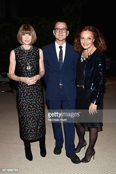 Anna Wintour Steven Kolb and Diane von Furstenberg attend 13th Annual CFDA/Vogue Fashion Fund Awards at Spring Studios on November 7 2016 in New York...