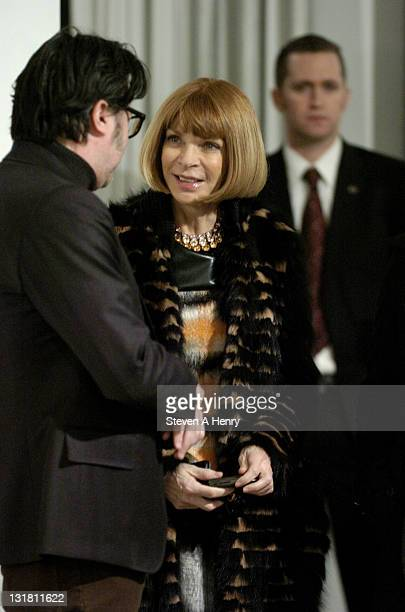 Anna Wintour talks to designer Billy Reid at the Billy Reid Fall 2011 presentation during Mercedes-Benz Fashion Week at Milk Studios on February 12,...