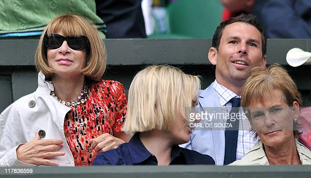 Anna Wintour US Vogue editor in chief and Judy Murray mother of British player Andy Murray watch the semi final bewteen Russian player Maria...