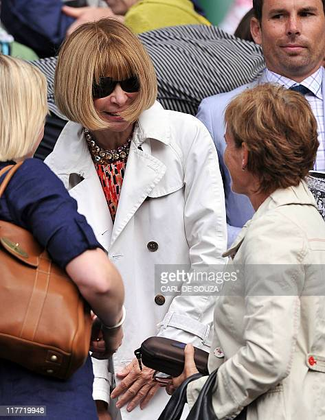 Anna Wintour US Vogue editor in chief talks to Yelena mother of Russian player Maria Sharapova after she won over German player Sabine Lisicki during...