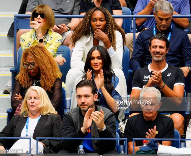 Anna Wintour Venus Williams Oracene Price Meghan Duchess of Sussex and Alexis Ohanian cheer on Serena Williams on September 07 2019 in New York City