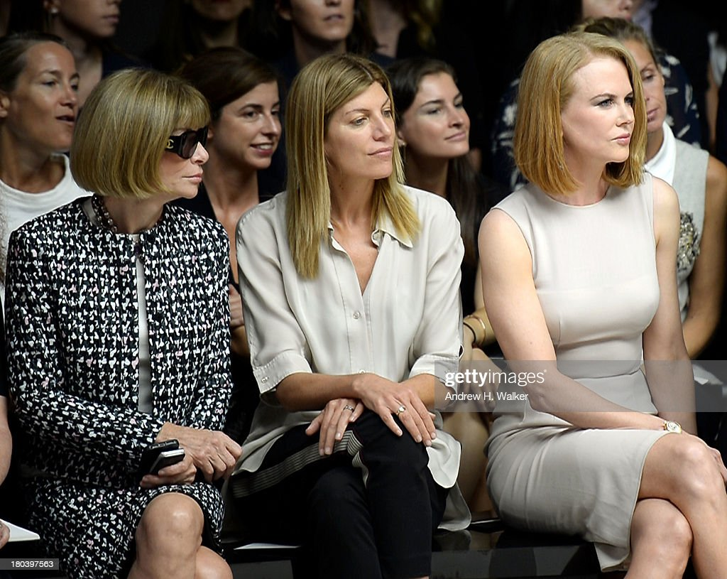 Anna Wintour, Virginia Smith and Nicole Kidman attend the Calvin Klein Collection fashion show during Mercedes-Benz Fashion Week Spring 2014 at Spring Studios on September 12, 2013 in New York City.