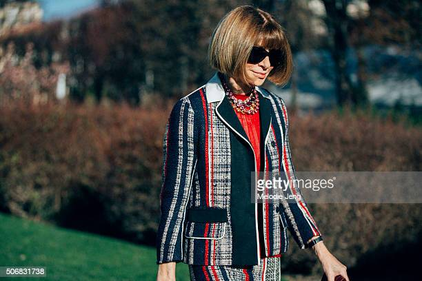 Anna Wintour Vogue Magazine editor in chief ttends the Dior Couture show at Musee Rodin on January 25 2016 in Paris France