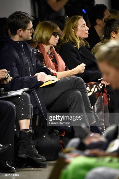 Anna Wintour walks the runway for Brock Collection during New York Fashion Week The Show at Gallery II at Spring Studios on February 9 2018 in New...