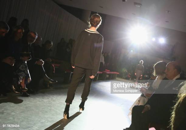 Anna Wintour watches as models rehearse on the runway with TRESemme At Carolina Herrera NYFW AW18 on February 12 2018 in New York City