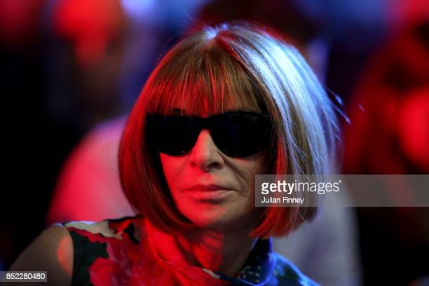 Anna Wintour watches as Rafael Nadal of Team Europe plays his singles match against Jack Sock of Team World on Day 2 of the Laver Cup on September 23...
