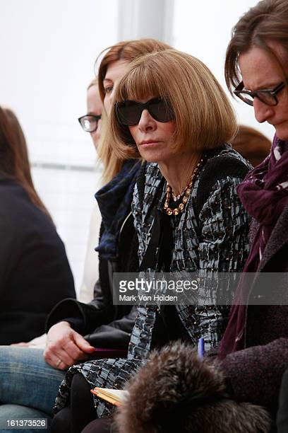 Anna Wintour watches the runway at the Derek Lam fall 2013 fashion show during MercedesBenz Fashion Week at Sean Kelly Gallery on February 10 2013 in...