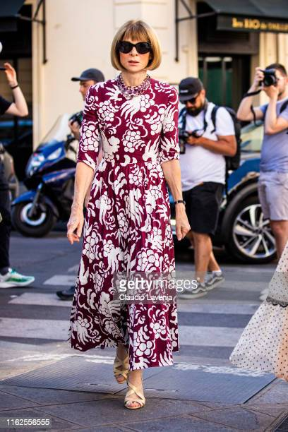 Anna Wintour, wearing a burgundy and white printed dress and gold heels, is seen outside VALENTINO show during Paris Fashion Week - Haute Couture...