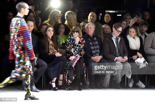 Anna Wintour wearing Burberry at the Burberry February 2018 show during London Fashion Week at Dimco Buildings on February 17 2018 in London England