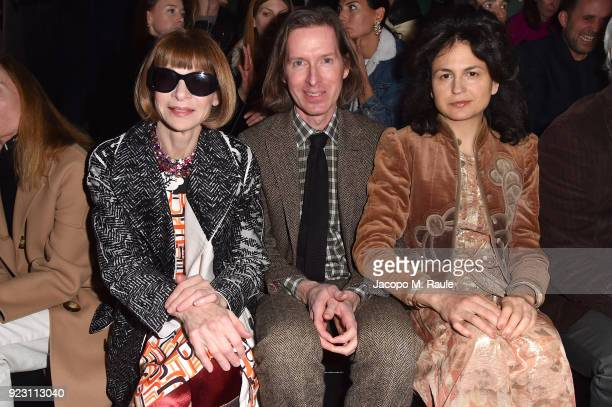 Anna Wintour Wes Anderson and Juman Malouf attend Prada Fall/Winter 2018 Womenswear Fashion Show on February 22 2018 in Milan Italy