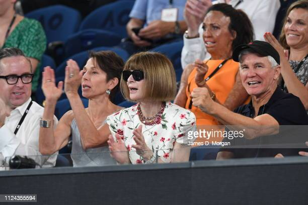 Anna Wintour with Baz Luhrmann watch one of the women's semi finals on Rod Laver Arena as they attend the 2019 Australian Open at Melbourne Park on...