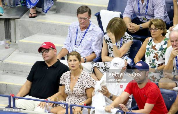 Anna Wintour with husband Shelby Bryan Lynette Federer mother of Roger Federer below Mirka Federer wife of Roger Federer attend his defeat on day 8...