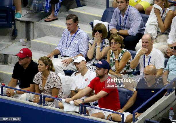 Anna Wintour with husband Shelby Bryan Lynette Federer mother of Roger Federer below his agent Tony Godsick his wife Mirka Federer his coaches...