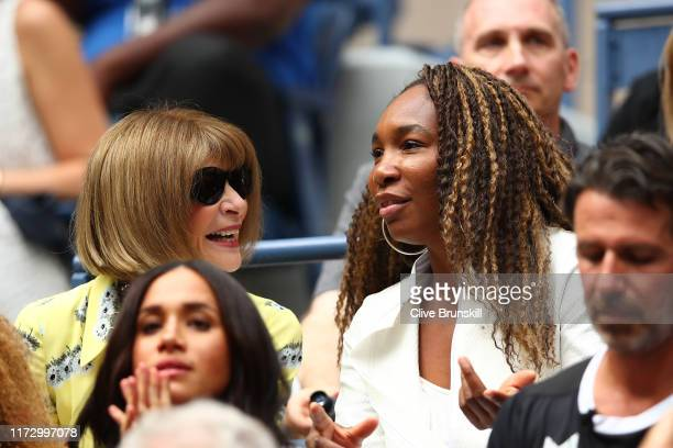 Anna Wintoure and Venus Williams talk during the Women's Singles final match between Serena Williams of the United States and Bianca Andreescu of...
