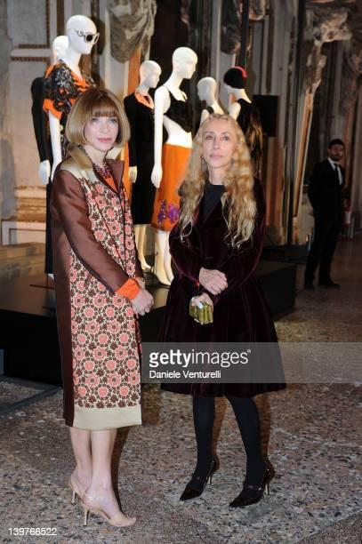 "Anna Wintur and Franca Sozzani attends the ""Miuccia Prada And Elsa Schiapparelli: Impossible Conversations"" opening exhibition during Milan..."