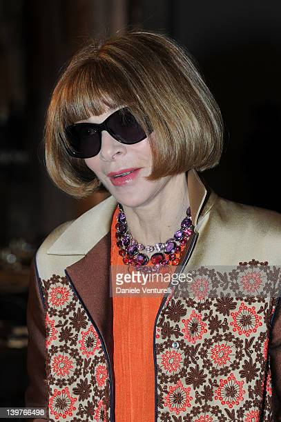 Anna Wintur attends the Miuccia Prada And Elsa Schiapparelli Impossible Conversations opening exhibition during Milan Womenswear Fashion Week on...
