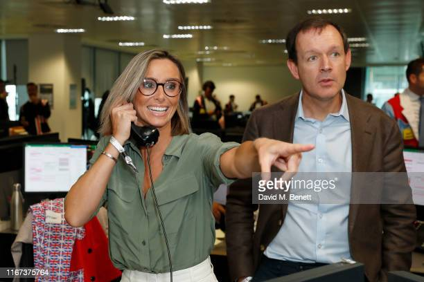 Anna Woolhouse and Adam Smith both representing Hope And Homes For Children attend BGC Charity Day at One Churchill Place on September 11 2019 in...