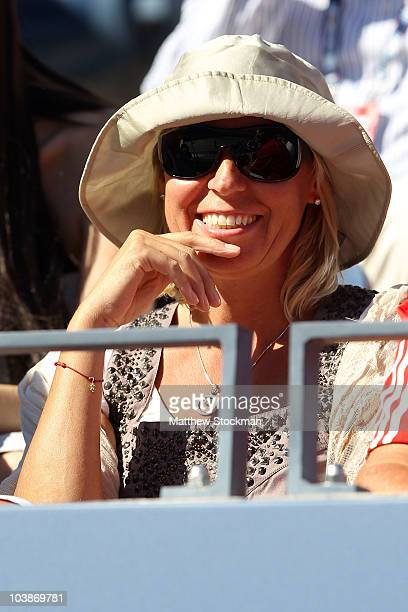 Anna Wozniacki mother of Caroline Wozniacki watches the women's singles match between Caroline Wozniacki of Denmark and Maria Sharapova of Russa on...