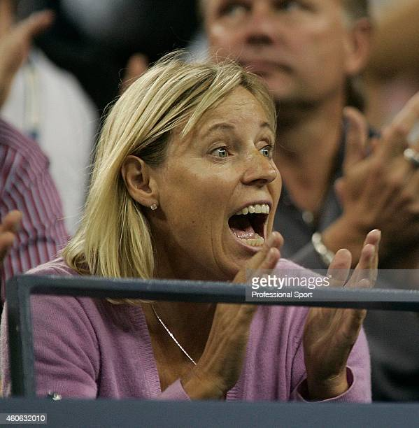 Anna Wozniacki the mother of Caroline Wozniacki of Denmark reacts during her daughter's match against Melanie Oudin of the United States during the...