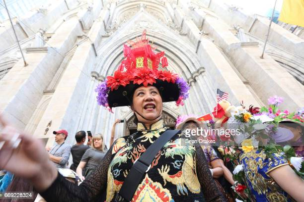 Anna Xie takes part in the Easter Parade at St Patrick's Cathedral on April 16 2017 in New York City USA