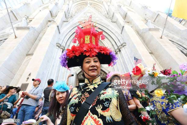 Anna Xie takes part in the Easter Parade on Fifth Avenue at St Patrick's Cathedral on April 16 2017 in New York City USA
