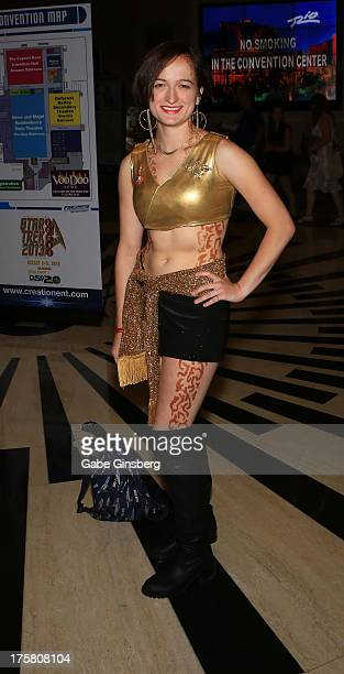Anna Yeutter dressed as a character from the Star Trek franchise attends the 12th annual Star Trek convention at the Rio Hotel Casino on August 8...