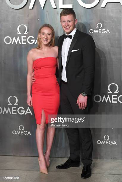 Anna Zair and Adam Peaty attend the Lost In Space event to celebrate the 60th anniversary of the OMEGA Speedmaster at the Tate Modern on April 26...