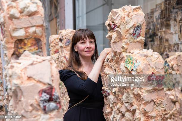Anna Zlotovskaya during Artist HA Schult presents his new sculptures 'Trash People' at the press conference of Go Matera Go by HA Schult at Geuer...