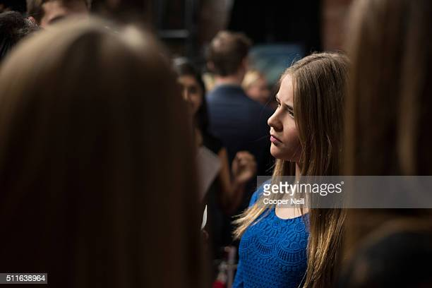 Annabel Beam visits with the media on the red carpet during the premiere of 'Miracles From Heaven' on February 21 2016 in Dallas Texas