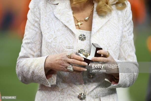 Annabel Bowlen holds a ring designated for former Denver Broncos coach Red Miller during a Ring of Fame ceremony The Denver Broncos hosted the...