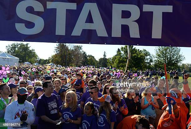 Annabel Bowlen third from left bottom row at the start line for the annual Walk To End Alzheimer's event at City Park September 19 2015 Photo by Andy...