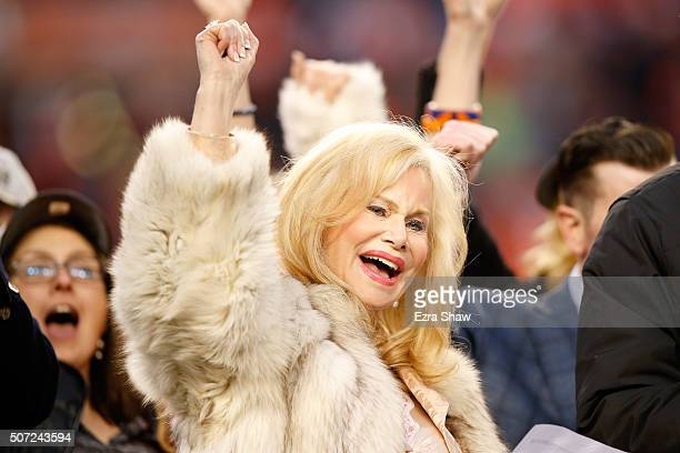 Annabel Bowlen wife of Denver Broncos owner Pat Bowlen celebrates after defeating the New England Patriots in the AFC Championship game at Sports...