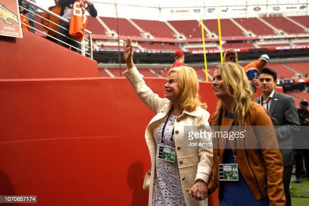 Annabel Bowlen wife of Denver Broncos owner Pat Bowlen on the field before the Denver Broncos take on the San Francisco 49er's at Levi's Stadium...