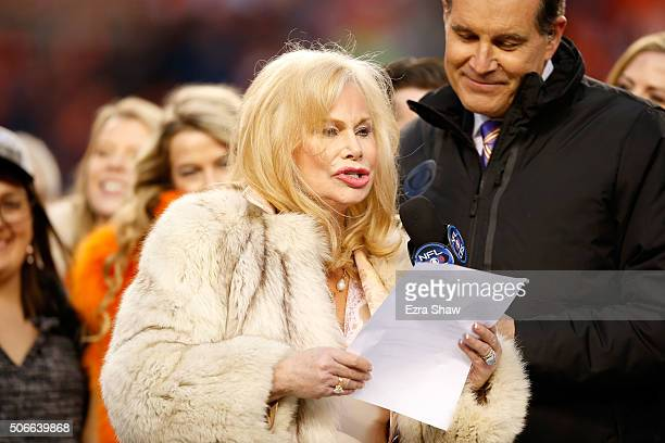 Annabel Bowlen wife of Denver Broncos owner Pat Bowlen speaks after defeating the New England Patriots in the AFC Championship game at Sports...
