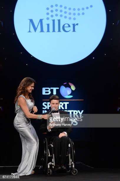 Annabel Croft and Gordon Reid present the Participation Event of the Year award in association with Miller during the BT Sport Industry Awards 2017...