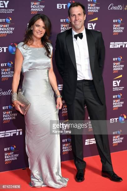 Annabel Croft and Greg Rusedski attend the BT Sport Industry Awards at Battersea Evolution on April 27 2017 in London England